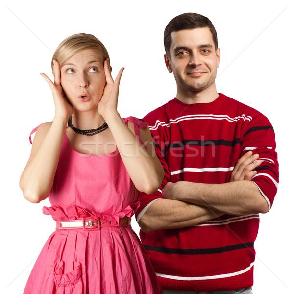 Kobiet różowy mężczyzna czerwony para biuro Zdjęcia stock © leedsn