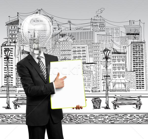 Сток-фото: лампы · голову · бизнесмен · пусто · написать · совета