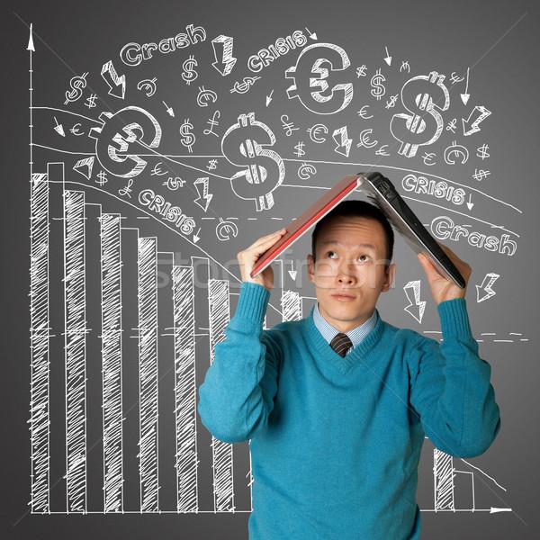 üzletember laptop ázsiai üzlet munka háttér Stock fotó © leedsn