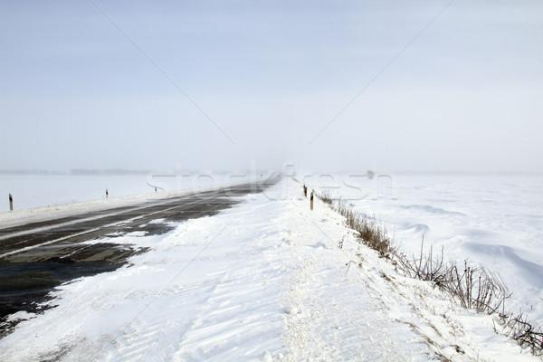 Snowing Road Stock photo © leedsn