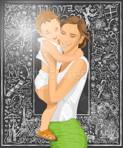 Vector Woman With Child Stock photo © leedsn