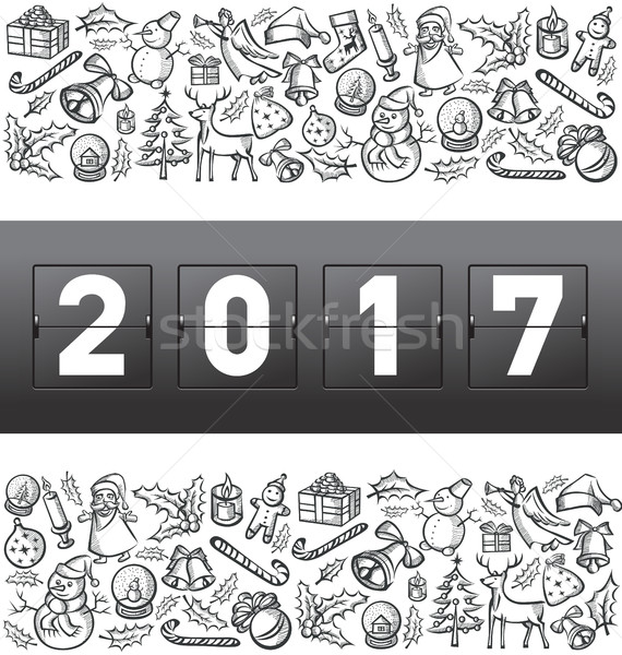 Vector mechanisch scorebord nummers christmas nieuwjaar Stockfoto © leedsn