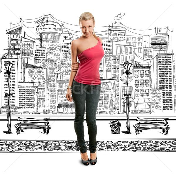 女性 ピンク 見える カメラ 立って ストックフォト © leedsn