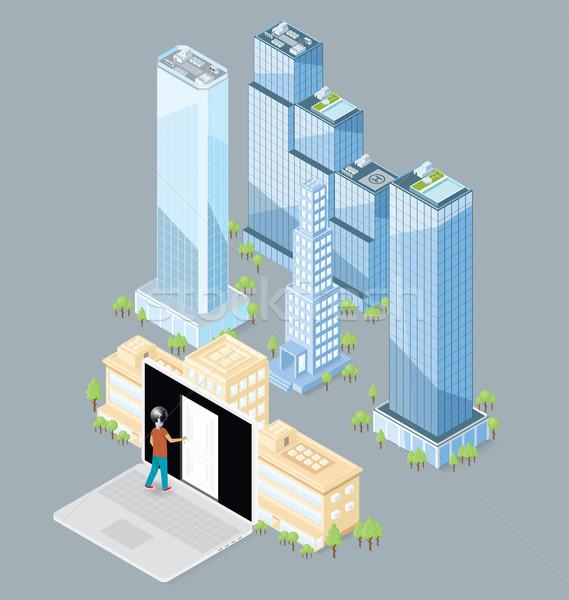 Vettore 3D isometrica edificio per uffici porta grande Foto d'archivio © leedsn