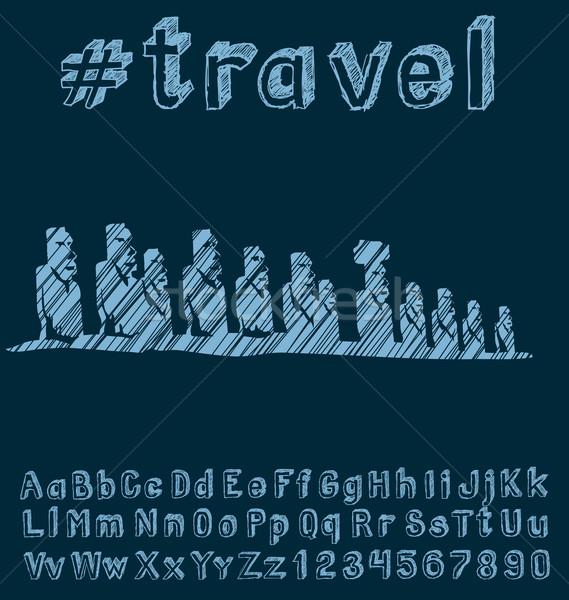 Foto stock: Viajar · vetor · mão · fonte · negócio · terra