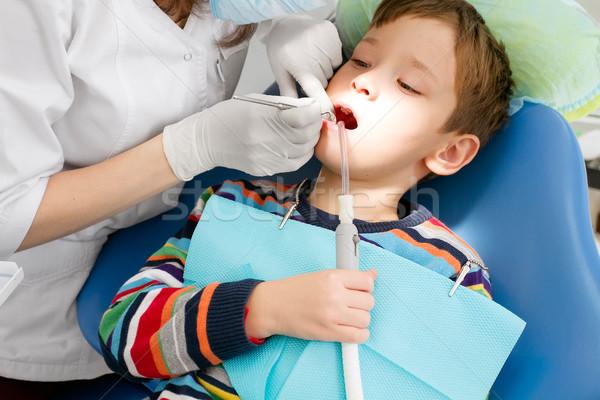 Jongen tandarts tandheelkundige procedure het voorkomen stoel Stockfoto © leedsn
