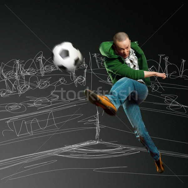 Asian footballeur formation coup ballon homme Photo stock © leedsn