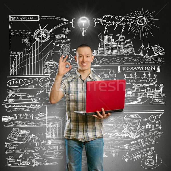 Stockfoto: Idee · asian · mannelijke · laptop · handen