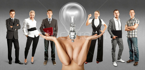 Stockfoto: Business · team · lamp · hoofd · idee · verschillend · achtergronden