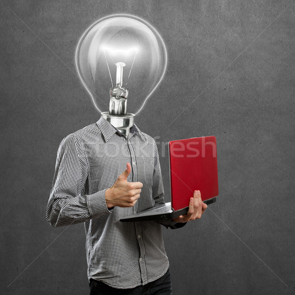 Lamp Head Man With Laptop In His Hands Well Done Stock photo © leedsn