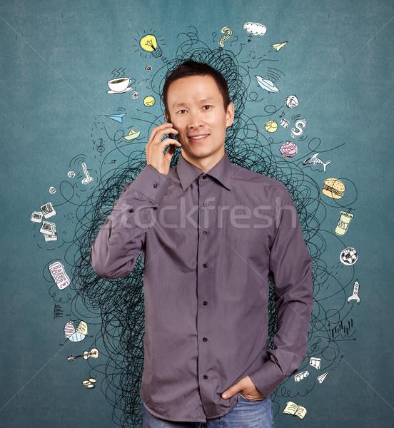 Homem idéia asiático bem diferente fundos Foto stock © leedsn