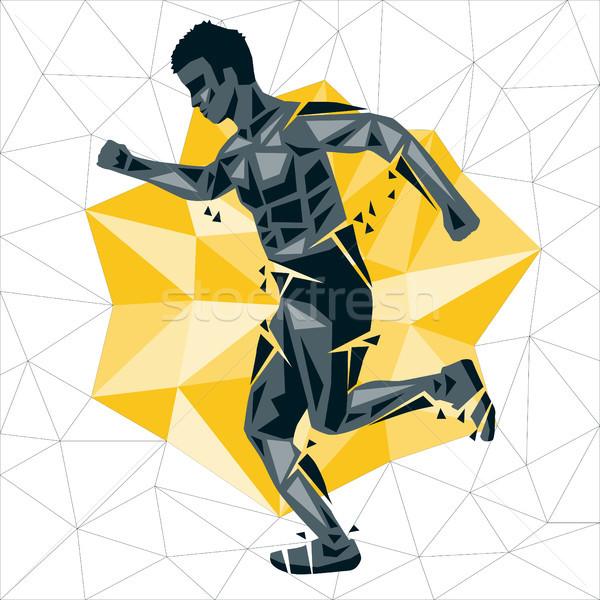 Meetkundig crossfit lopen vector silhouet man Stockfoto © leedsn