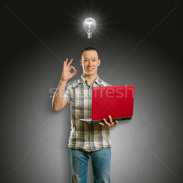 Photo stock: Idée · asian · Homme · portable · mains