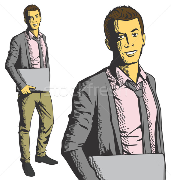 Vecteur homme portable mains homme d'affaires main Photo stock © leedsn