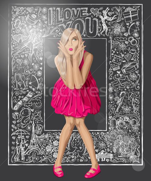 Blond roze jurk liefde vector verwonderd Stockfoto © leedsn