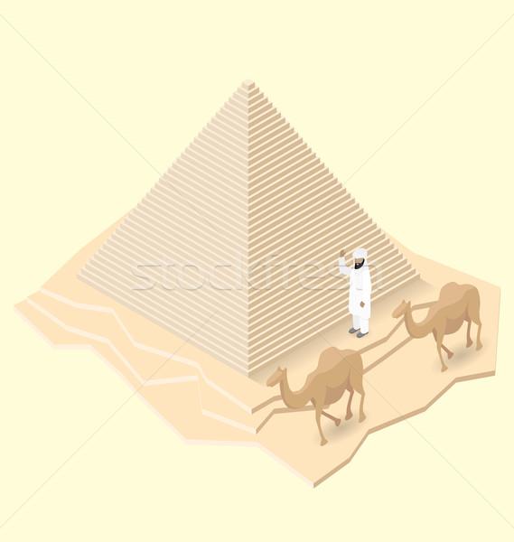 Stok fotoğraf: Vektör · 3D · izometrik · mısır · piramit · deve