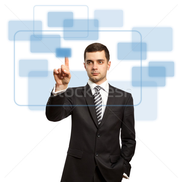 Stockfoto: Zakenman · knop · virtueel · touch · internet