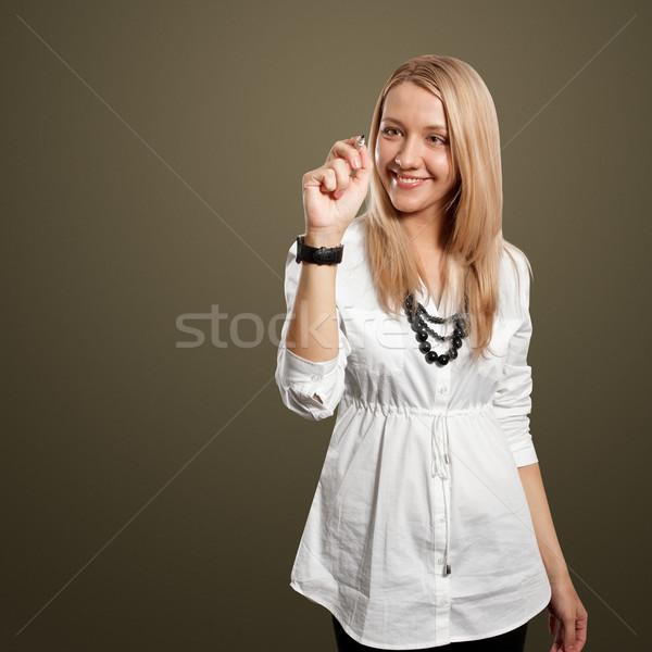 Сток-фото: деловая · женщина · что-то · женщины · женщину · пер · бизнесмен