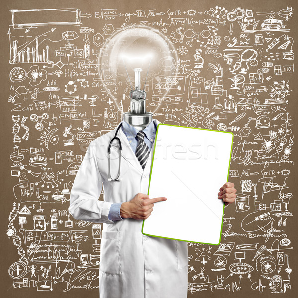Lamp Head Doctor Man With Empty Board Stock photo © leedsn