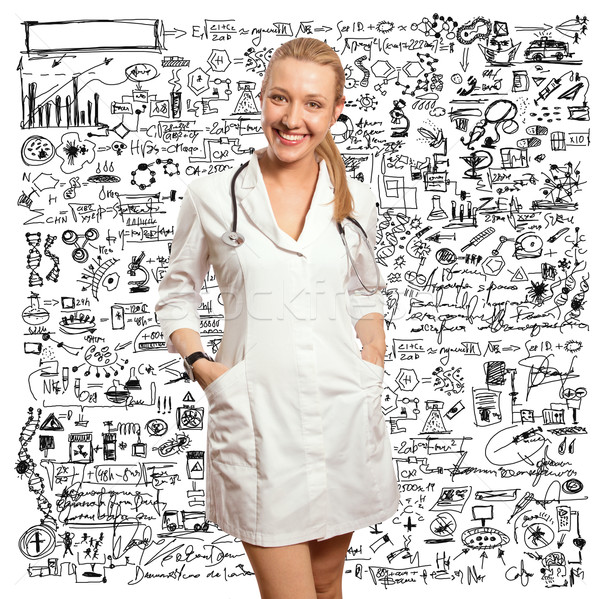 young doctor woman with stethoscope Stock photo © leedsn