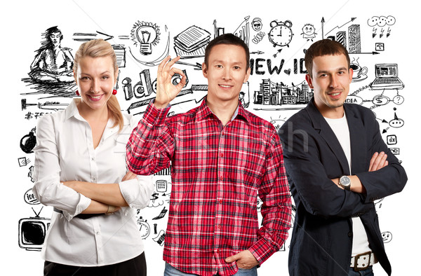 チームワーク アジア 男 折られた 手 笑みを浮かべて ストックフォト © leedsn