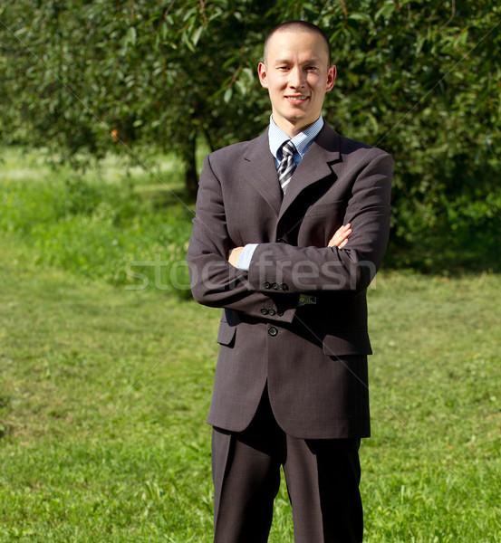 Man werken buitenshuis freelancer business internet Stockfoto © leedsn