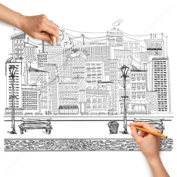 Foto stock: Idéia · mão · humana · viajar · esboço · lápis · cidade