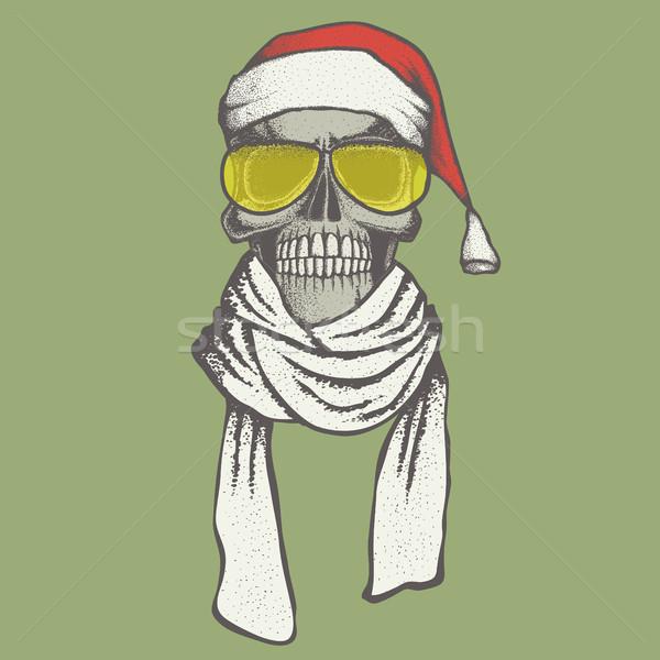 Vector schedel illustratie christmas Stockfoto © leedsn