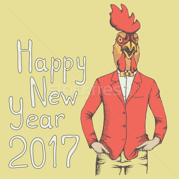 петух вектора иллюстрация человека костюм Новый год Сток-фото © leedsn