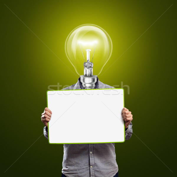 lamp head businessman with empty write board Stock photo © leedsn