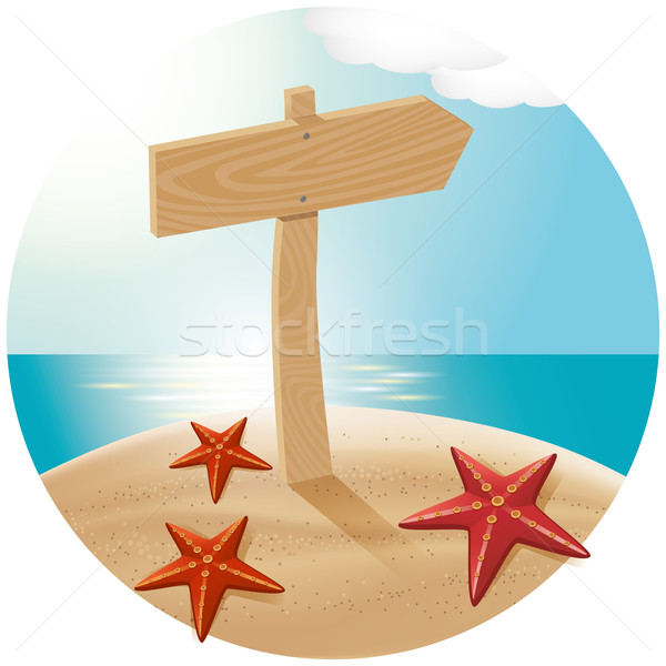 Guidepost At The Sea Beach 02 Stock photo © leedsn