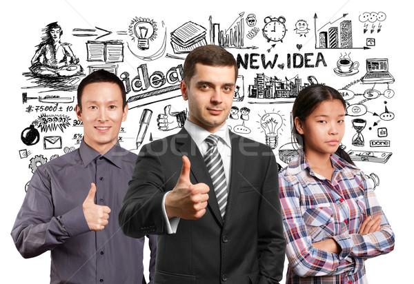 ストックフォト: アジア · チーム · ランプ · 頭 · ビジネスの方々 ·