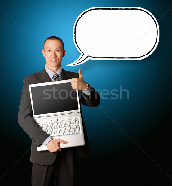 businessman with laptop and thought bubble Stock photo © leedsn