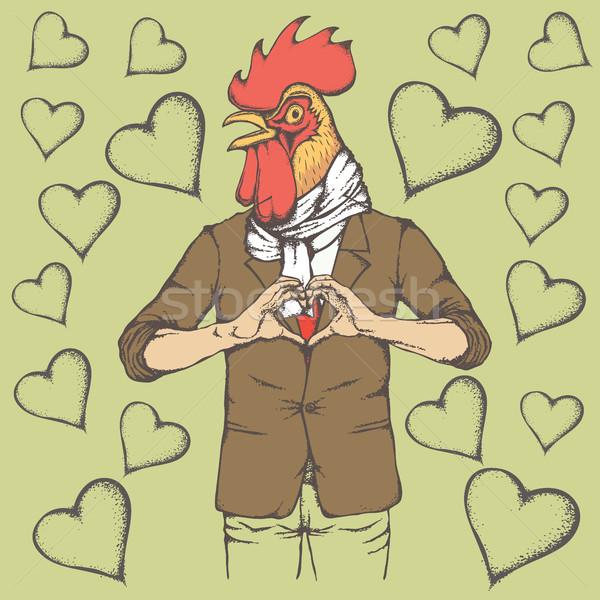 Gallo san valentino giorno vettore testa umani Foto d'archivio © leedsn