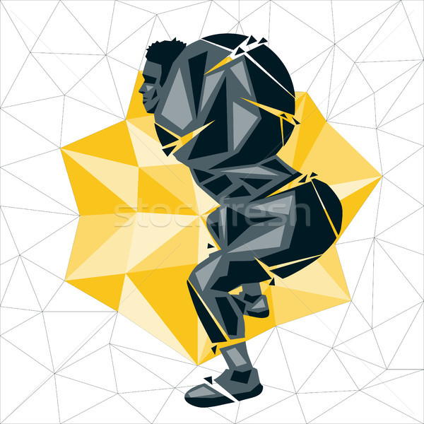 Geométrico crossfit de volta vetor silhueta homem Foto stock © leedsn