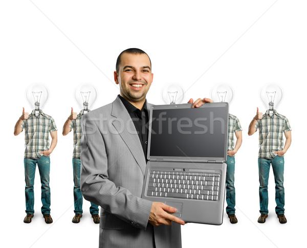 Stockfoto: Lamp · hoofd · goed · glimlach · man
