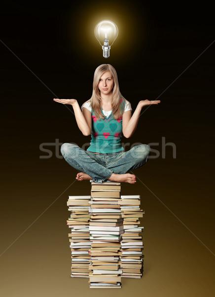 Stock fotó: Nő · lótusz · póz · egyensúlyoz · köteg · könyvek