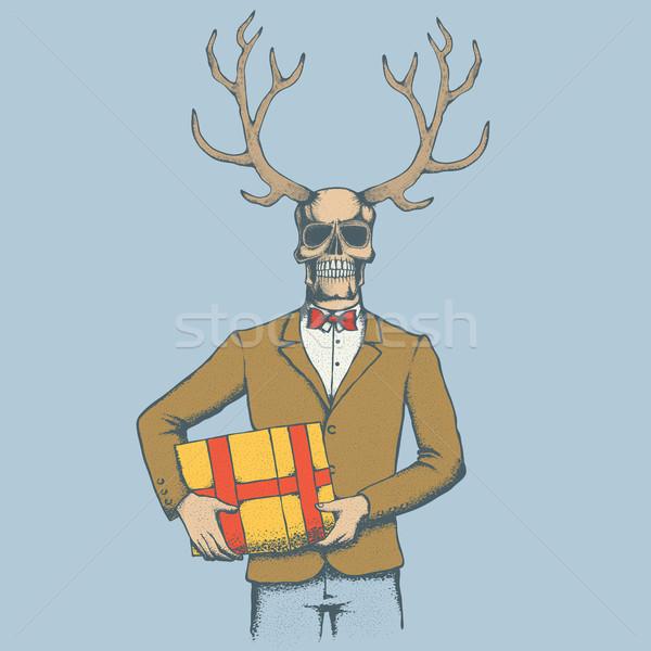 Vector schedel illustratie herten hoorn geschenk Stockfoto © leedsn