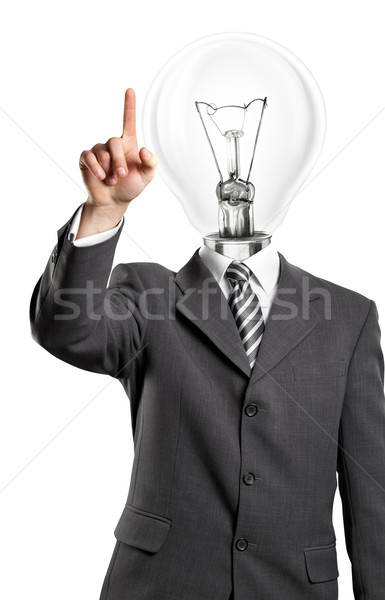 ランプ 頭 ビジネスマン ボタン バーチャル ストックフォト © leedsn