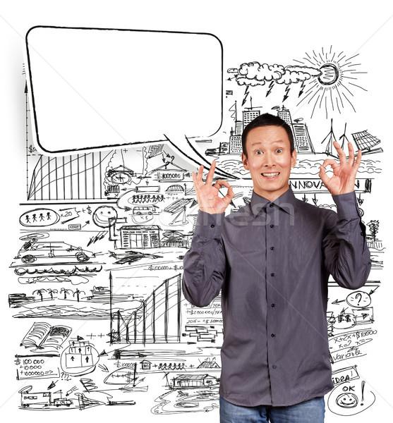 Asian Man Shows OK with Speech Bubble Stock photo © leedsn