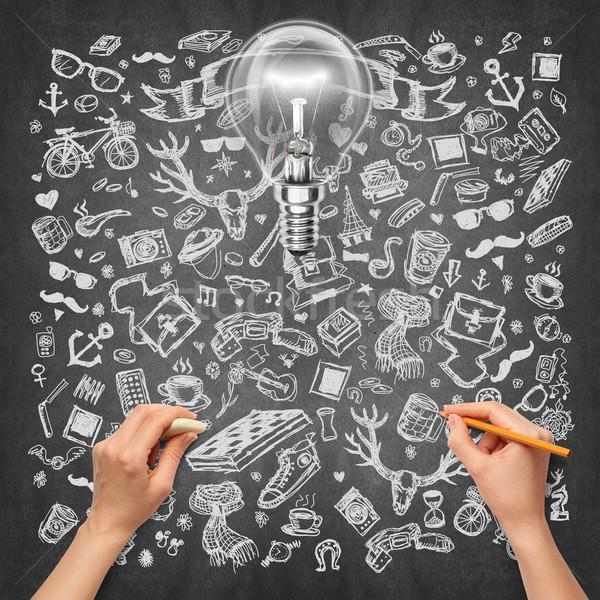 Идея человеческая рука лампы эскиз карандашом Сток-фото © leedsn