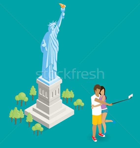Pár készít szobor hörcsög USA vektor Stock fotó © leedsn