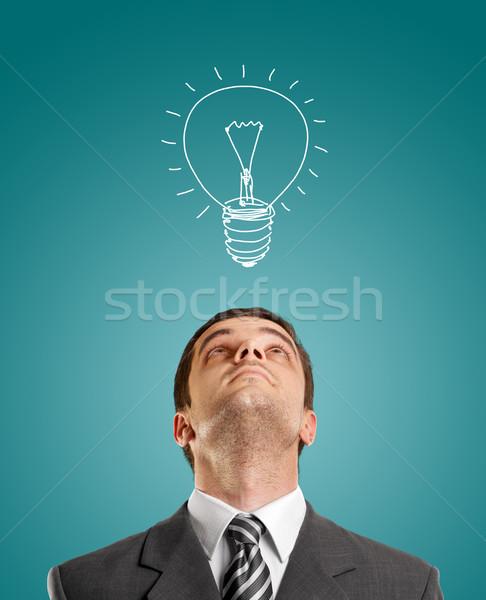 Geschäftsmann schauen Idee Anzug Krawatte Gesicht Stock foto © leedsn