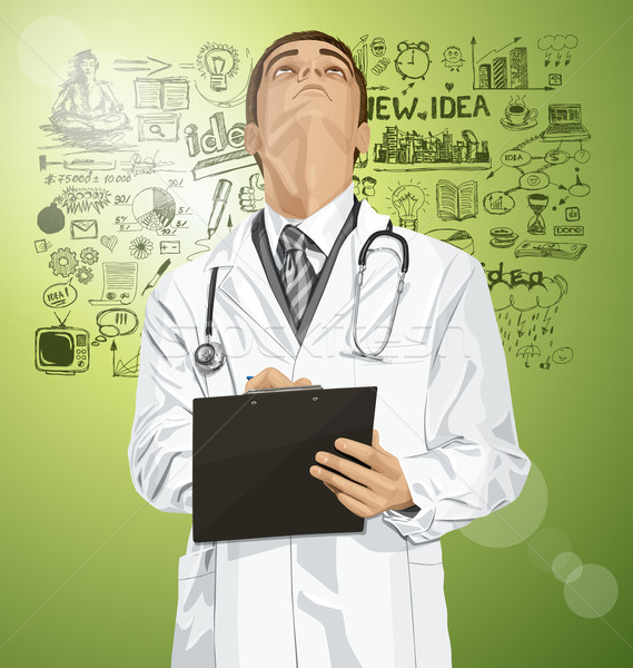 Vector Doctor Man With Clipboard Stock photo © leedsn