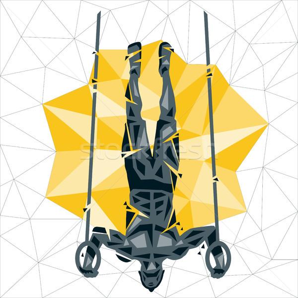 幾何学的な crossfitの 逆立ち アップ リング ストックフォト © leedsn