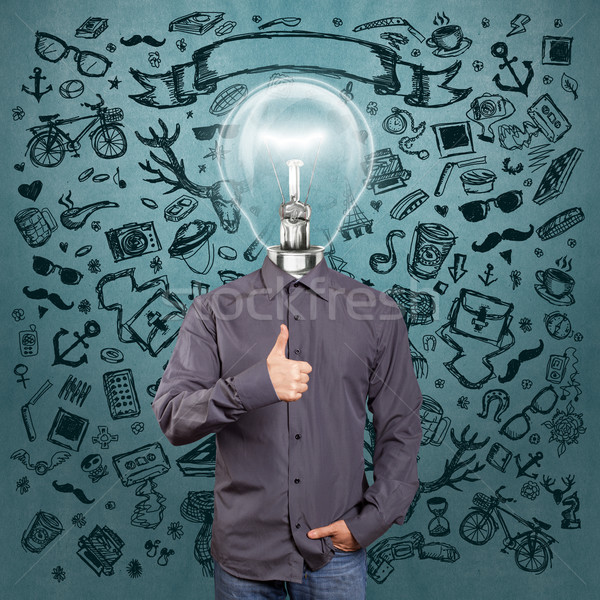Hipster Lamp Head Man Shows Well Done Stock photo © leedsn