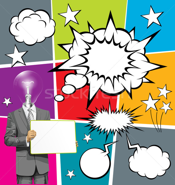 Vector Business Man with Empty Write Boardr And Bubble Speech Stock photo © leedsn