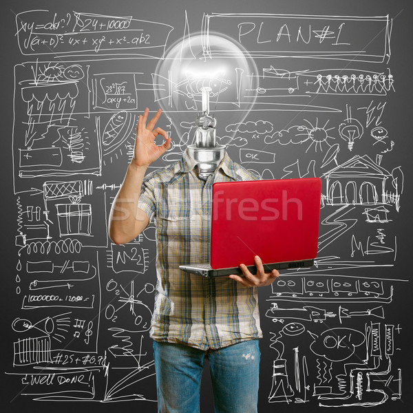casual lamp-head with laptop shows OK Stock photo © leedsn