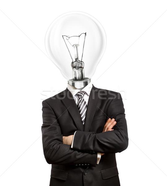 Lampe tête homme costume mains affaires Photo stock © leedsn
