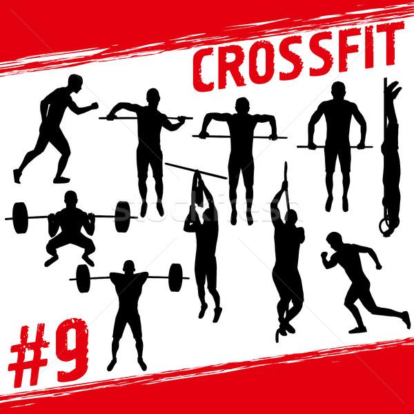 ストックフォト: Crossfitの · ベクトル · シルエット · 人 · フィットネス · 多くの